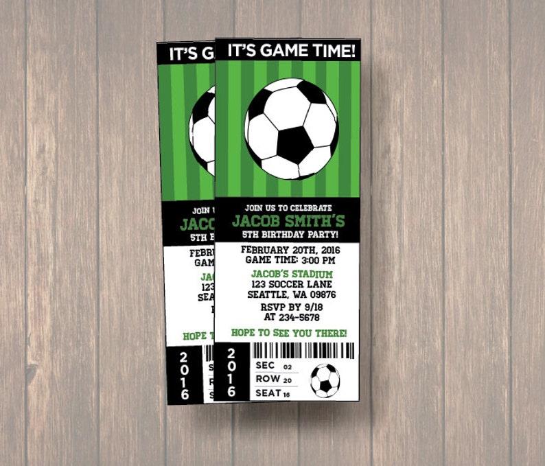 6086c6a1f28 Soccer Invitations Soccer Ticket Invitation Soccer Party