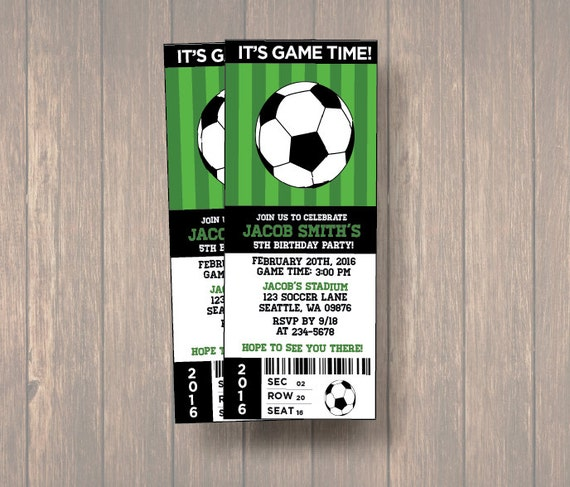 Numerique Birthday Party Invitations Ticket De Football Etsy