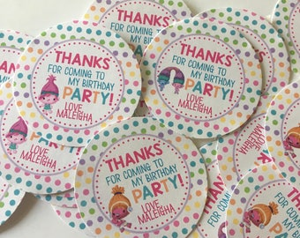Troll Birthday Stickers - Party Favor Stickers - Troll Birthday Decorations - Troll Party