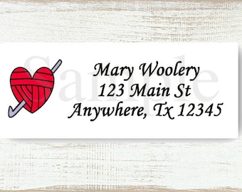 Crochet Hook & Heart Yarn - Custom Return address label, Self-adhesive address label, Address stickers, Stationary, Return Labels