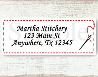 Quilted Stitching - Custom Return address label, Self-adhesive address label, Address stickers, Stationary, Return Labels