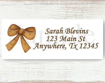 Tape Measure Ribbon Bow - Custom Return address label, Self-adhesive address label, Address stickers, Stationary, Return Labels