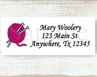 Knit Needles and Yarn - Custom Return address label, Self-adhesive address label, Address stickers, Stationary, Return Labels