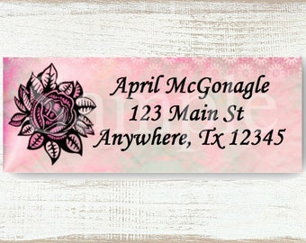 Pink Rose Background - Custom Return address label, Self-adhesive address label, Address stickers, Stationary, Return Labels