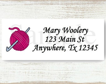 Crochet Hook and Yarn - Custom Return address label, Self-adhesive address label, Address stickers, Stationary, Return Labels