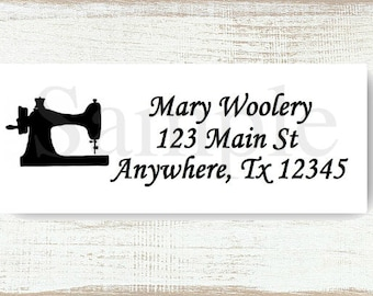 Black Sewing Machine - Custom Return address label, Self-adhesive address label, Address stickers, Stationary, Return Labels