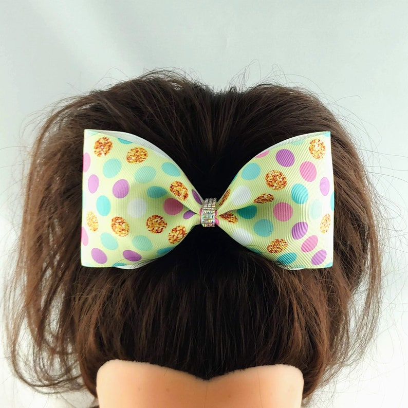 SALE Large Pastel Hearts Cheer Bow Cheer leading Dance Hair Bow