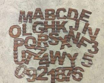 """5"""" corrugated rusty  barn tin letters and numbers"""