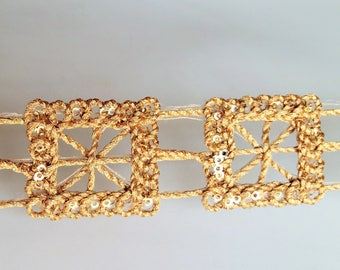 Gold Shimmer Square Thread Trim, Approx. 26mm wide - 200317L237