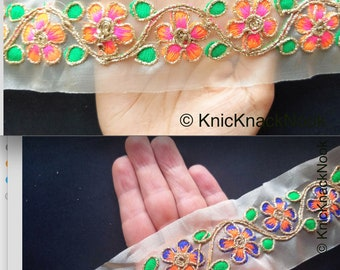 Approx Indian Sari Border Orange Green /& Gold Flowers Wholesale Gold Sheer Tissue Fabric Trim With Hand Embroidered  Blue 55 mm Wide