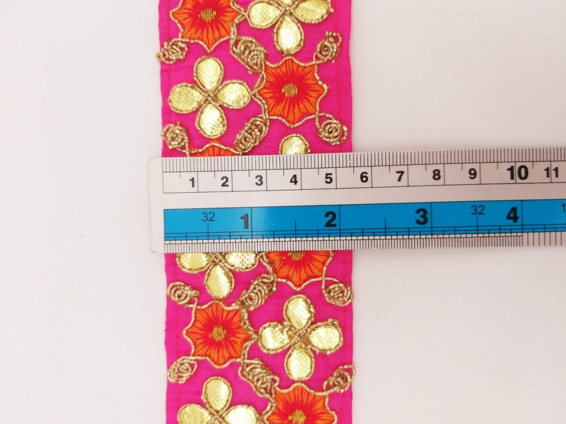 Fuchsia Pink Art Silk Fabric Trim Orange /& Gold Floral Embroidery Gota Patti Indian Sari Border Trim By Yard Decorative Trim Craft Lace