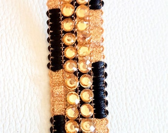 Black And Gold Shimmer Lace Trim With Diamante Beads Embellishments, Approx. 21mm Wide, - 140316L189