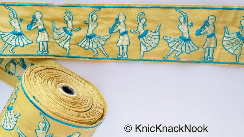 Approx Dance Music Trims Beige Fabric Trim With Embroidered Dancers And Musicians in Gold /& Black  Blue 80mm 210119L514  15