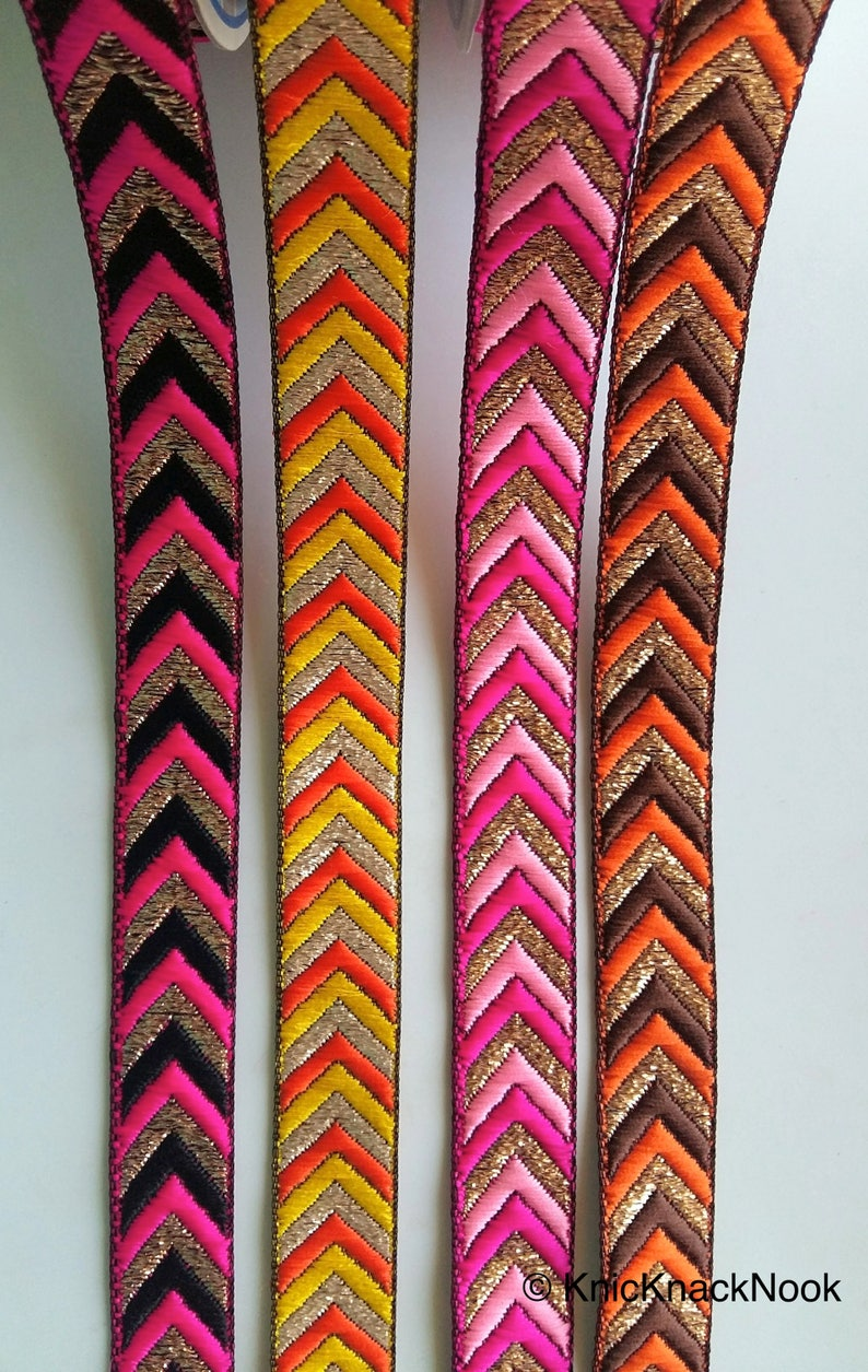 20mm wide Fuchsia Pink And Gold Embroidered Trim Trim By 9 Yards Decorative Ribbon Wholesale Chevron Trim Black Jacquard Trim Approx
