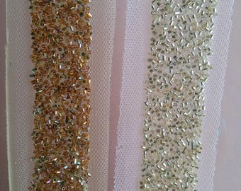 Beige Net Trim With Gold / Copper Beads Embellishments - 200317L199/ 200