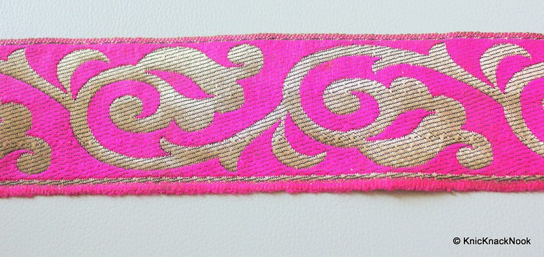 60mm Wide Indian Sari Trim Craft Ribbon Trim By 9 Yards Wholesale Jacquard Floral Border in Fuchsia Pink And Bronze Lace Trim Approx