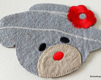 1 x Gray Bear Embroidered Applique Patch