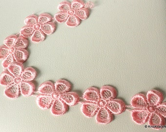 Pink Embroidered Flower Lace Trim Ribbon Approx 45mm wide