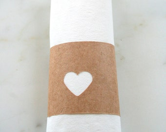 Heart Cutout Napkin Rings - Gender Neutral Shower Decorations - Heart Decorations - Engagement Party