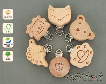 Wooden clip with engraving Baby clip Laser engraving Pacifier clip Pacifier chain clip Pendant clip Clip for baby chain Bite chain Play chain