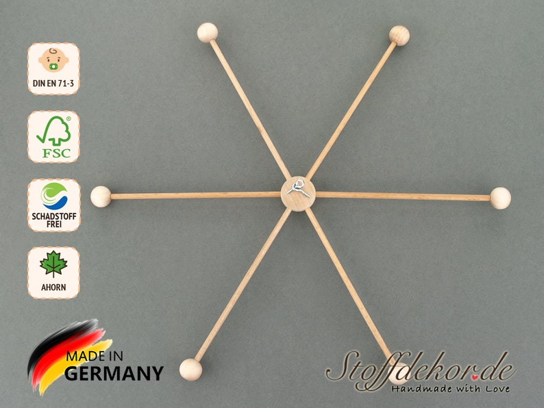 Mobile Star DIY Kit 6 Arms x 30cm Mobile Cross Kit Wooden Mobile Fixing Baby Mobile Nursery Mobile Baby Room Decor Wooden Star
