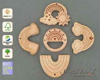 Bite Pendant Rainbow Organic Linseed Oil Teething Ring Wooden Pendant Gripping Ring Teething Aid Biting Toy Wooden Bite Ring Gripping Bite Chain