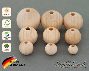 Wooden beads 8, 10, 12, 14, 15, 16, 18, 20 and 22 mm natural wood beads Wood balls Thread beads Baby beads Craft beads for baby chains grippers