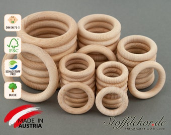 Wooden ring 36, 40, 46, 55 and 70 mm teething ring natural wood ring teeth ring griffin ring tooth ring dental aid beech wood ring baby chains