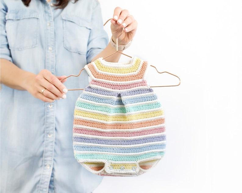 Newborn Size  CROCHET Rainbow Romper PDF Pattern Instant image 7