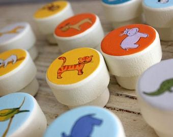 Safari Nursery Decor, Safari Animal Nursery, New Baby Boy Gift, Knobs and Pulls, Boys Room Decor, Custom Knobs, Kids Knobs  - Set of 12