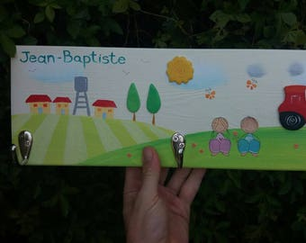Personalized peg Rack . Wall Pegs . Nursery coat rack . Tractor and orange trees theme. kids furniture. baby boy gift. baby shower.