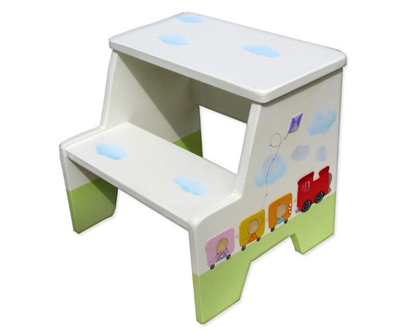 Astonishing Train Nursery Toddler Boy Gifts Painted Step Stool Step Stool Chair Step Stool For Kids Step Stools For Children Bench Seating Theyellowbook Wood Chair Design Ideas Theyellowbookinfo