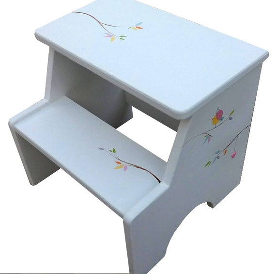 White Step Stool, Hand painted Step Stool Chair, Step Stool for Kitchen,  Step Stool for Children, Toddler Step Stool, Toddler birds theme
