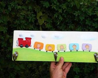 Personalized wood Coat Rack, Kids Peg Rack, Nursery towel rack, bathroom decor, Baby boy wall decor, Customized kids' train peg rack