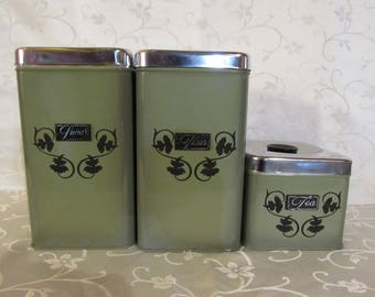 Set of 3 Green Metal Canisters
