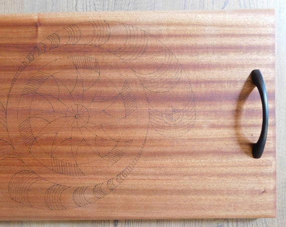 Large Sapele Wood Serving Board with Handles and Geometric Design