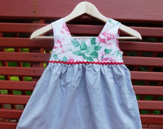 Linen Toddler Size 3T-4T Pinafore Gray Pink Rose Vintage Fabric Red Rickrack