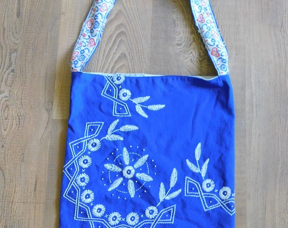 Blue and White Folk Art Upcycled Linen Tote Bag Handbag Embroidered Flowers