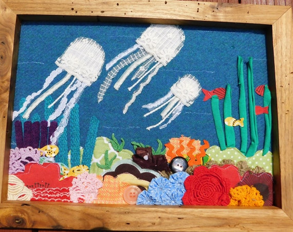 Jellies on the Reef Framed Textile Art