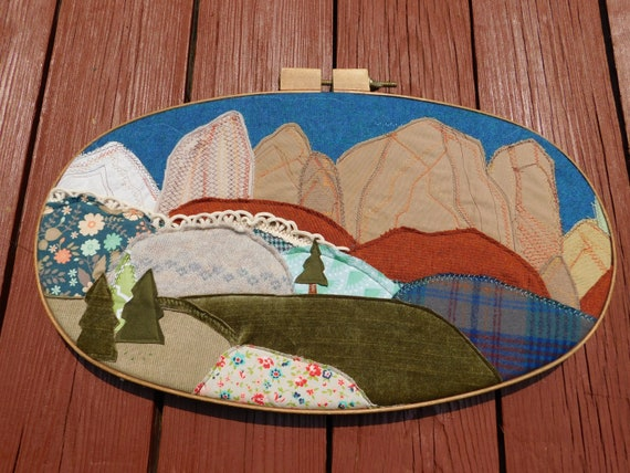 Zion Watchman Textile Art in Embroidery Hoop