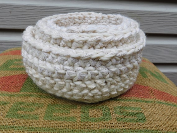 Wool and Cotton Nesting Basket Set of 3 White Cream Crochet