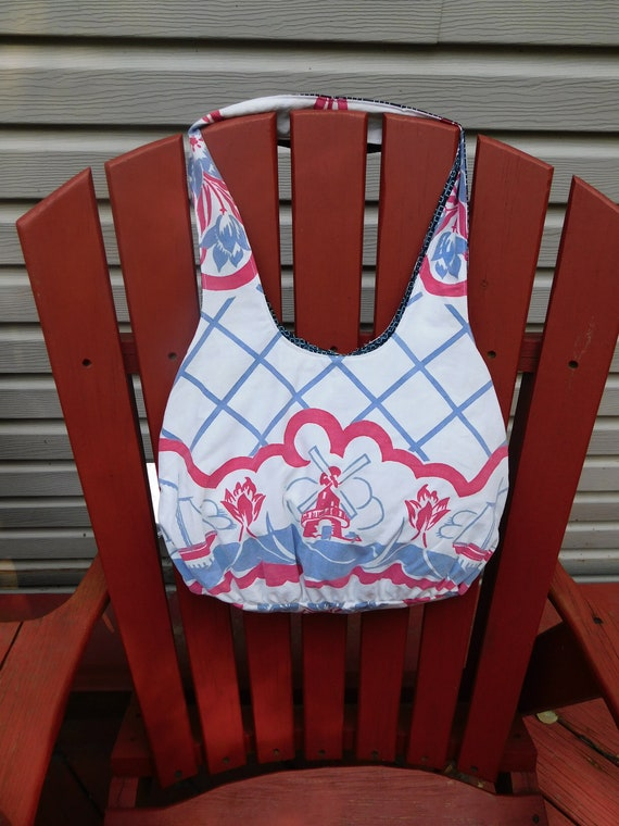Large Linen Purse Dutch Windmills Tulips Ship Made From Upcycled Vintage Tablecloth