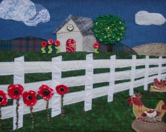 Framed Textile Art Fabric Art Chickens & Poppies House Handmade Cedar Frame 16x 20