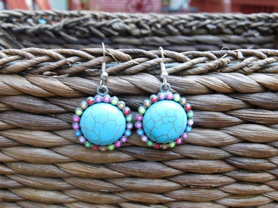Turquoise and Multicolor Cabochon Silver Drop Earrings