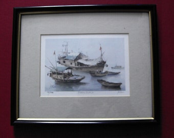 Limited Edition framed print of painting entitled Fishing District. 156/6000