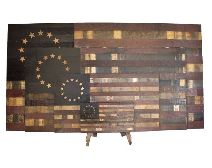 Betsy Ross Wine Barrel Flag - Colony Flag Made From Oak Barrel Wood