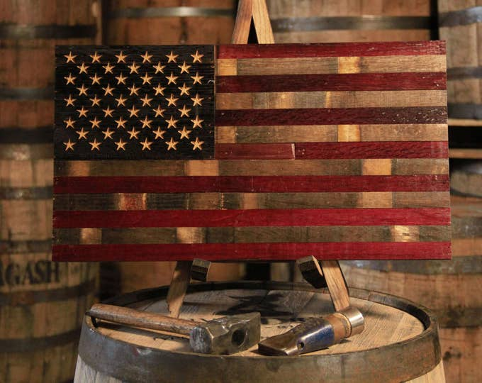 Wine Barrel Flag - USA Flag Made From Oak Barrel Wood