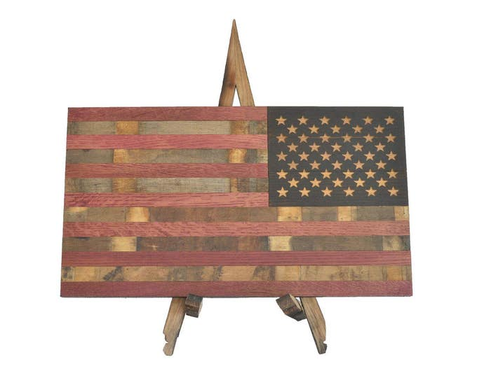 Wine Barrel Defender Flag - USA Flag Made From Oak Barrel Wood