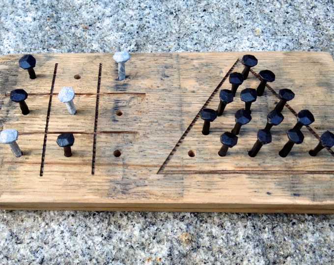 Whiskey Barrel Tic Tac Toe & Triangle Peg Game - Bourbon Bar Games