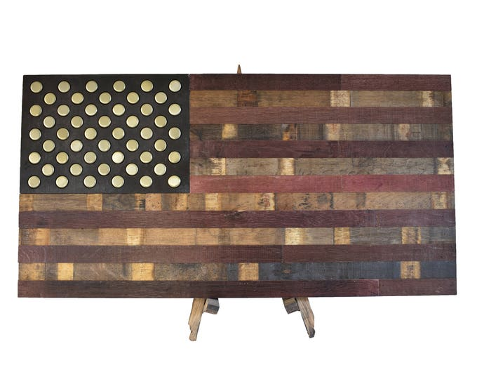 Wine Barrel Bottle Cap Flag - USA Flag Made From Oak Barrel Wood